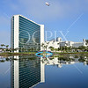 Hyatt Regency Hotel in Long Beach during the 2013 Toyota Grand Prix. Reflection over the lagoon early in the morning. FYI: All purchased downloads or prints will not have the watermark.
