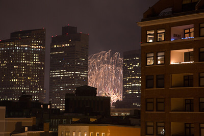 7pm Family Fireworks on Boston Common as seen from North End