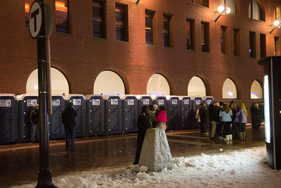 Porta potties lined up for the fireworks crowd