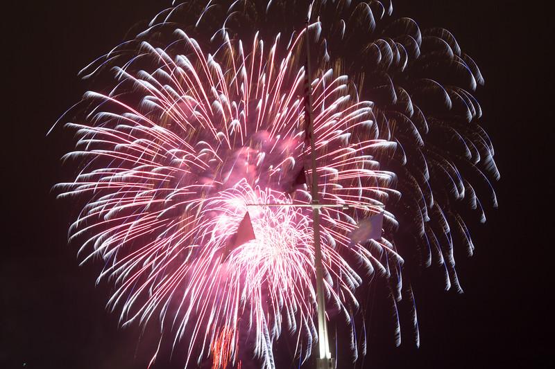 Fireworks explode at Long Wharf