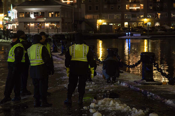 Boston Police responding to a New Year's incident at Christopher Columbus Park