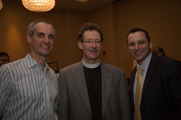 From the left, library supporter David Crocini, Old North Church Vicar, Rev. Stephen T. Ayres and State Rep. Aaron Michlewitz