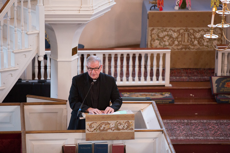 Fr. Pat from St. Stephen's Church speaks at the Marathon Tragedy Vigil