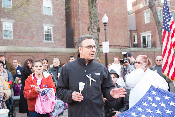 City Councilor Sal LaMattina Speaks at the North End Vigil for Marathon Victims
