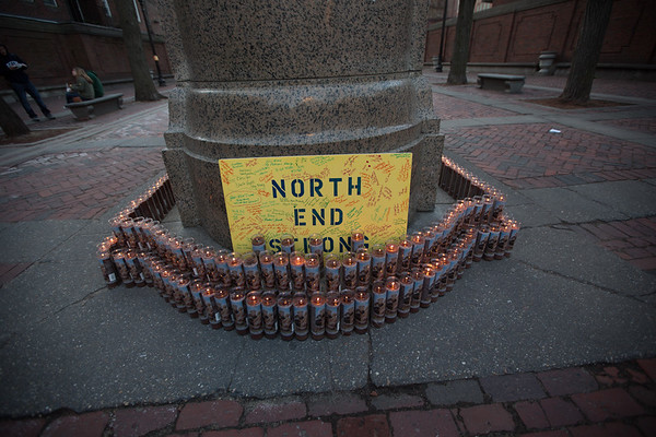 North End Strong Sign with Candles - Wide Shot - 2013-04-21 at 19-07-23