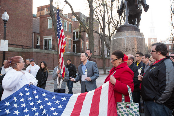 State Rep. Aaron Michlewitz Speaks at the North End Vigil for the Marathon Victims
