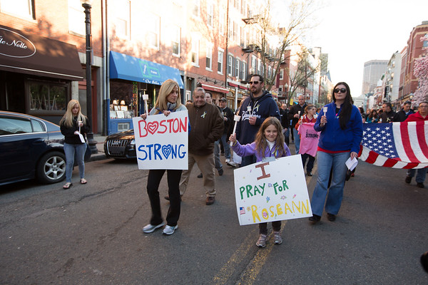 North End Vigil Procession on Hanover Street - I Pray for Roseann - Boston Strong