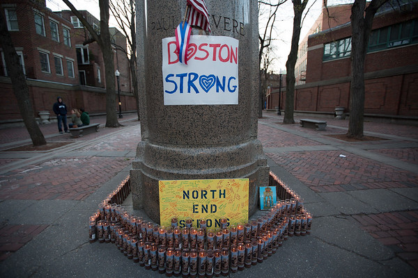 North End Strong Sign with Candles