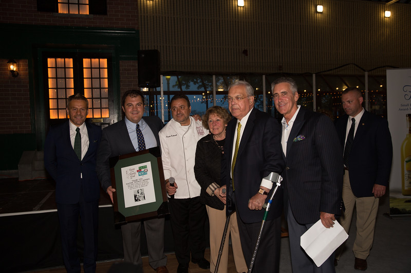 From the left, Jim Luisi (TONE co-chair and CEO of NEW Health), Philip Frattaroli (TONE Exec Dir and Ducali owner), Donato Frattaroli (TONE co-chair and Lucia owner), Angela Menino, Boston Mayor Thomas M. Menino and Billy Costa (TV Diner)