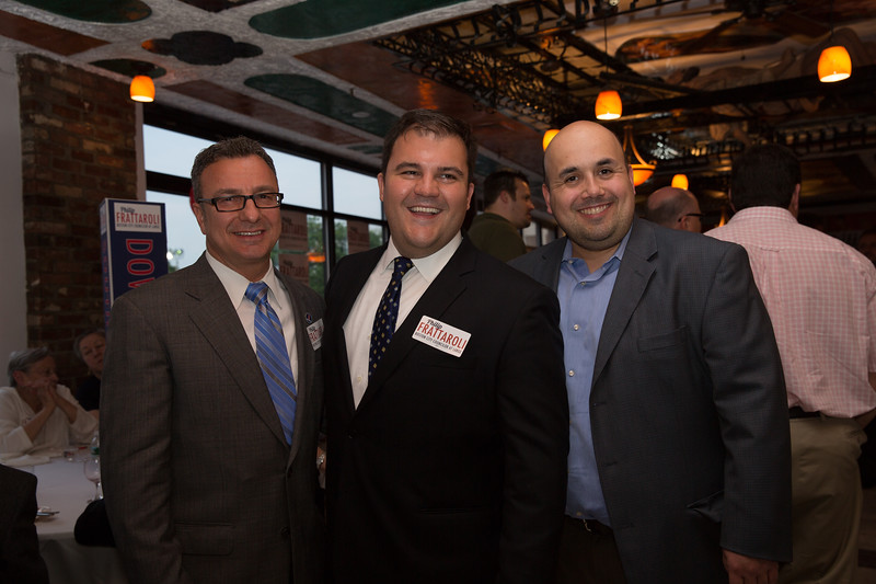 Councilor Sal LaMattina (left), At-Large Candidate Philip Frattaroli (center) and Ed Deveau from Sen. Anthony Petrucelli's office