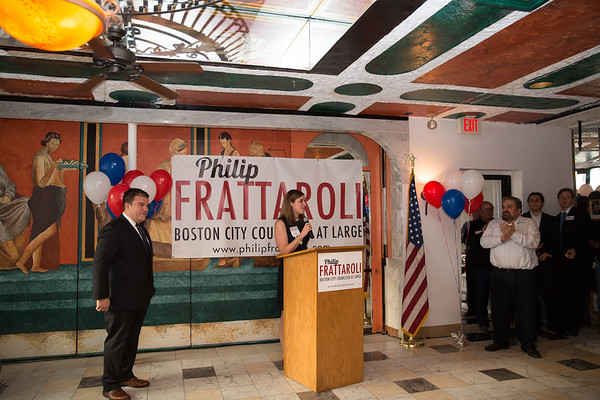 Kelly Frattaroli introduces her husband and City Councilor At Large Candidate, Philip Frattaroli