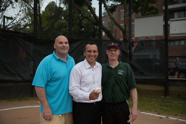 State Rep. Aaron Michlewitz (center) with North End Coach Domenic DiCenso (left) and South End Coach Pete Shults