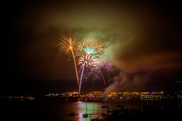 2013-06   Fireworks in the Clouds over Boston Harbor