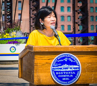 Vivien Li, President of The Boston Harbor Association speaks at the ceremony