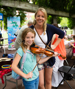 NEMPAC's Sherri Snow with Sophia on the violin