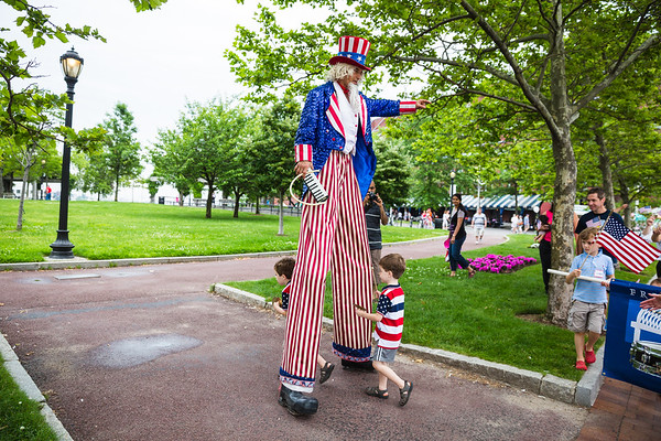 Going through Uncle Sam's legs