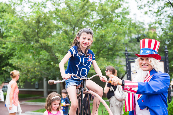 Julianna and Uncle Sam on the big bike