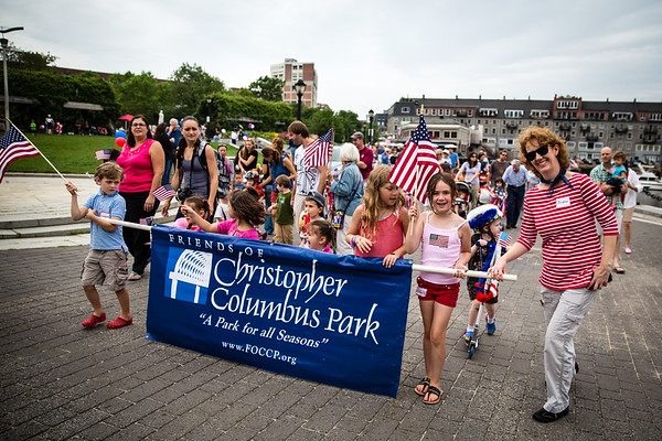 Banner Carriers at the Independence Day Parade in the Park