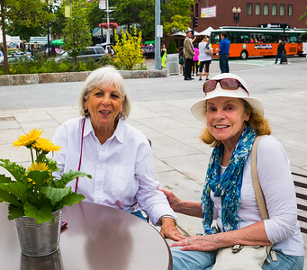 Ann and Maryanne from Friends of Christopher Columbus Park at the opening of the Greenway Carousel