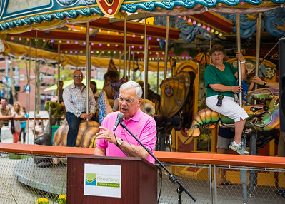 Mayor Thomas M. Menino speaks on Opening Day for the Greenway Carousel
