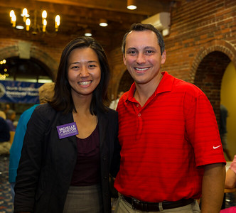 City Councilor at Large candidate Michelle Wu and State Rep. Aaron Michlewitz at NEWRA's summer party