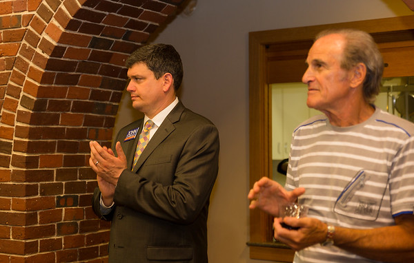Mayoral candidate John Connolly (left) and resident Paul Ragusa at NEWRA summer party