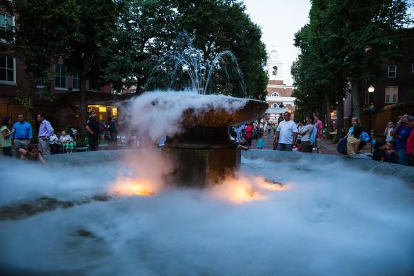 Dry Ice provides effect on the Prado fountain