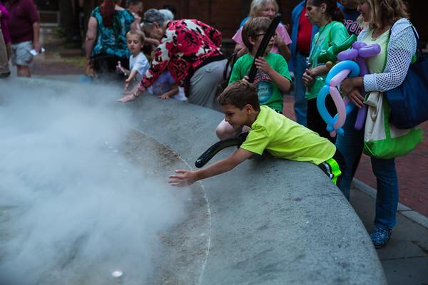 Gathering around the Prado Fountain