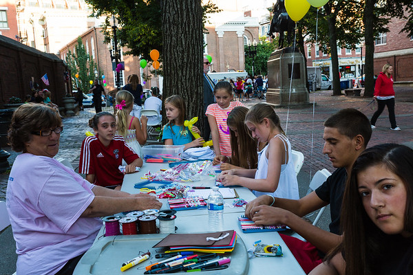 Patricia Romano leads a craft project at National NIght Out