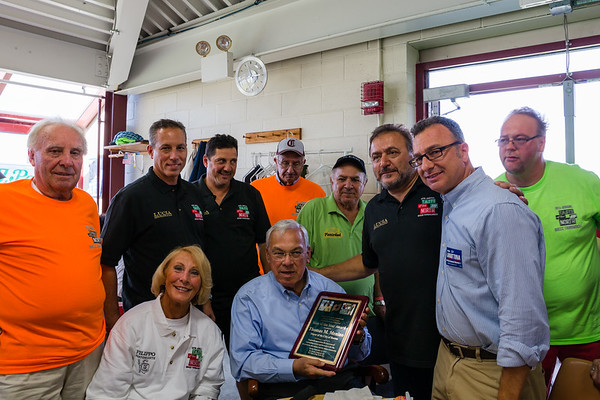 "Mayor Thomas Menino is presented with ""Man of the Year"" Award by Donato Frattaroli with Councilor Sal LaMattina and Bocce Players"