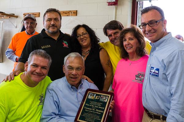 Honoring Mayor Thomas Menino with (L-R) Chris Zizza, Donato Frattaroli, Pam Modugno, Joe Piantedosi, Pam Donnaruma and Sal LaMattina