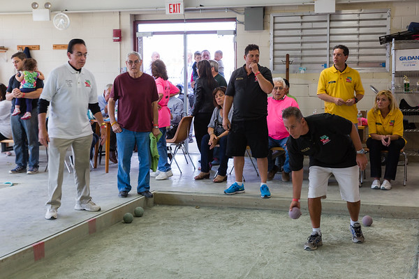 Mario Forziati takes his turn at the TONE Bocce Tourney