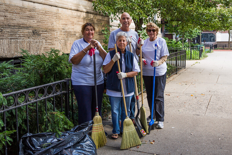 Cleanup crew at the Nazzaro Center playground