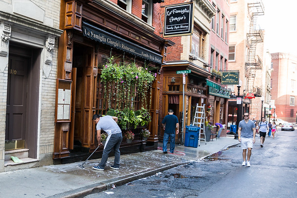 Separate from the event, but here is Giorgio's crew scrubbing the sidewalk on Salem Street