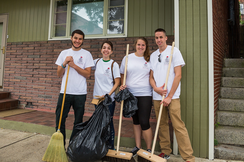 Suffolk students helping out on Commercial Street