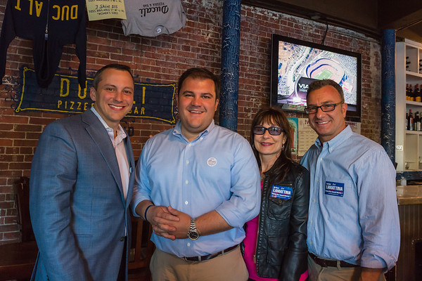 Endorsing Philip Frattaroli are State Rep. Aaron Michlewitz (left) and District 1 City Councilor Sal LaMattina (right) shown here with Frattroli and Kathy Carangelo