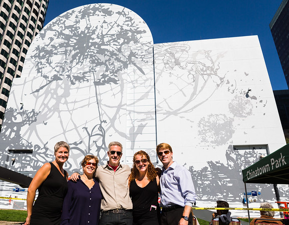 Remanence- Salt and Light (Part II) at Dewey Square on the Greenway with (L-R) Jenelle Porter, ICA Senior Curator, Jill Medvedow, Director of the ICA, Artist and Creator, Matthew Richie, Tricia O'Neill, Signs Unique artist and Jesse Brackenbury, COO of the Rose Kennedy Greenway Conservancy
