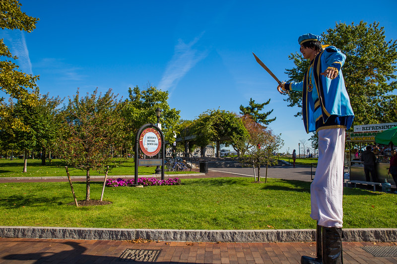 Columbus on stilts at the park