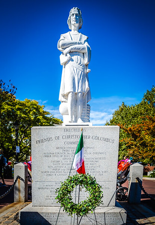 Christopher Columbus Statue with Italian Flag