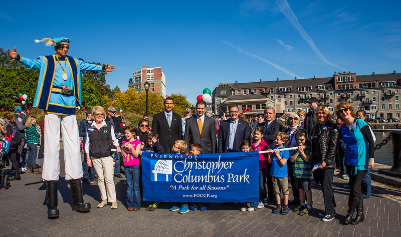 Columbus, FOCCP, local officials and families in the parade in the park