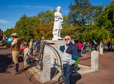 John Conti with the big bike at the park