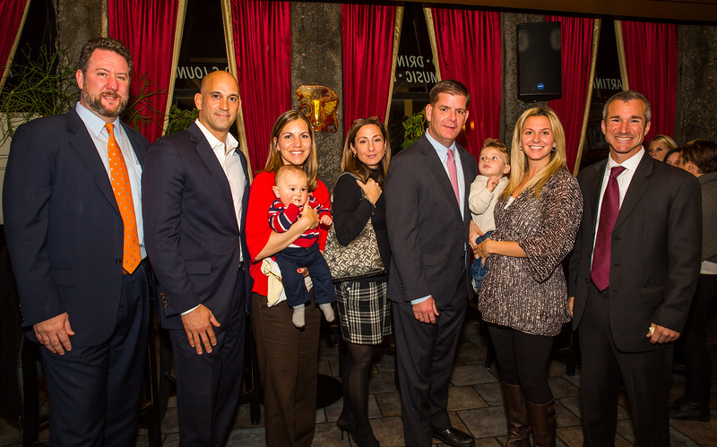 (L-R) Jason Aluia, Chris Pezzello, Alissa Passacantilli-Tizzano (and baby Paulo), Linda Paolo, Mayoral Candidate Marty Walsh, Liana Pedi Bevilacqua (and baby) and Stephen Passacantilli