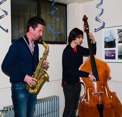 NEMPAC's Scott Boni on saxophone with bass player