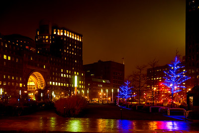 Wharf District Parks with Winter Lights at Rowes Wharf