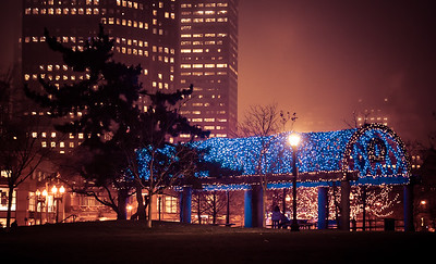 Lighted trellis at Christopher Columbus Park