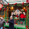Mayor Menino points the bat cane at the North End stop on the Enchanted Trolley Tour