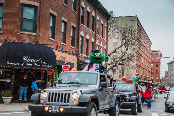 Wally from the Boston Red Sox in the North End Christmas Parade