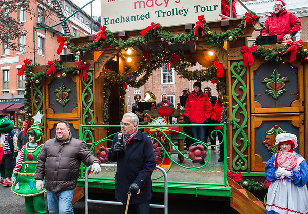 Mayor Thomas M. Menino speaks to the crowd at his final Enchanted Trolley Tour