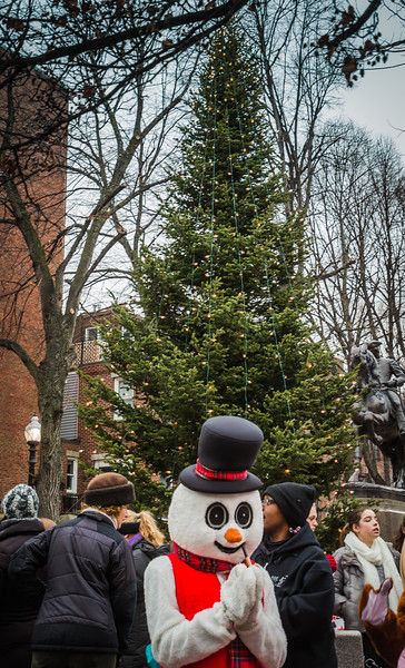 Frosty the Snowman in front of the Prado Christmas Tree