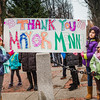 North End children made a sign to thank Mayor Menino at his last Christmas Trolley tour